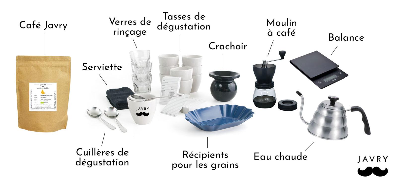 matériel nécessaire pour un cupping café