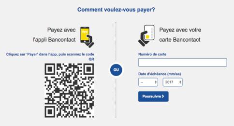 paiement par l'appli Bancontact ou site web de la banque