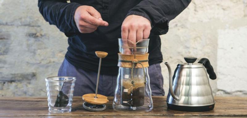 préparation cafetière à piston