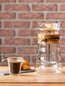 Cafetière à piston 400ml en verre double parois et bois d'olivier