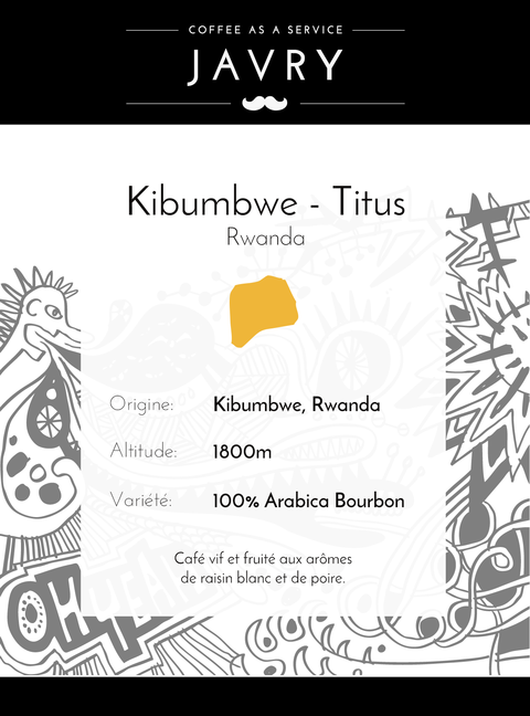 Café Rwanda Kibumbwe Titus - 250 grammes - Grains